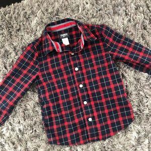 OshKosh Boys Cotton Plaid Button Down Shirt
